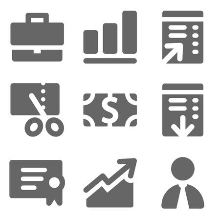 Finance web icons, grey solid series
