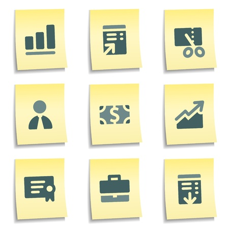 Finance web icons set 1,  yellow notes series