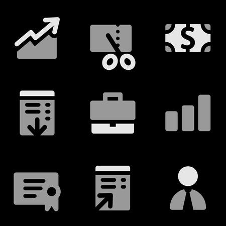 Finance web icons, grayscale series