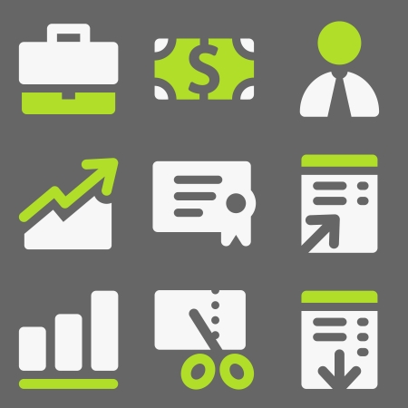 Finance web icons, white and green on grey