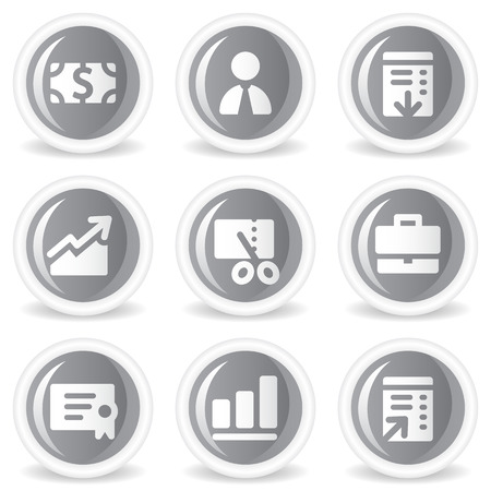 Finance web icons, grey glossy circle  buttons