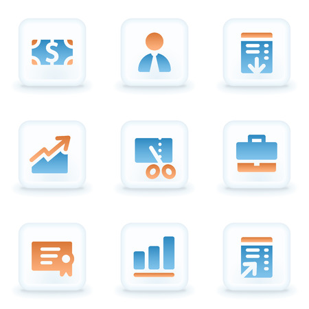 Finance web icons, white glossy buttons