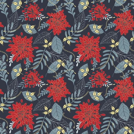 leaves and flowers on a dark background in seamless pattern