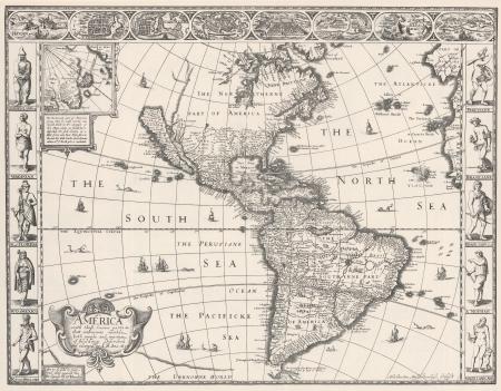 Antique Map of Americas 1626