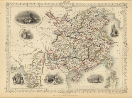 1851 Old map of China