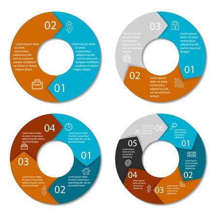 Illustration pour Set of round infographic diagram. Circles of 2, 3, 4, 6 elements. Vector EPS10 - image libre de droit
