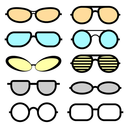 Set of glasses isolated. Glasses icons. Sunglasses and medical glasses