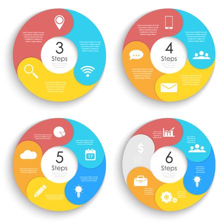 Illustration pour Set template for circle diagram, options, web design, graph and round infographic. Business concept with 3, 4, 5, 6 elements, step, option. Vector illustration. - image libre de droit