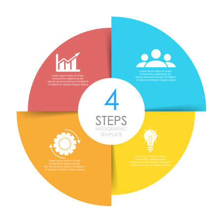 Illustration pour Circle infographics template can be used diagram, presentation or web design. Business concept with 4 options or steps. Vector infographic design. - image libre de droit