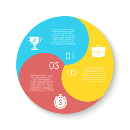 Illustration pour Circle infographics template can be used diagram, presentation or web design. Business concept with 3 options or steps. Vector infographic design. - image libre de droit