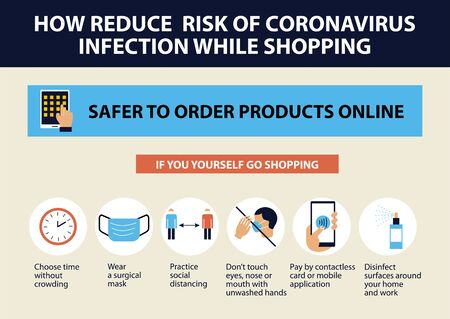 Illustration pour Coronavirus tips. How reduce risk of infections while shopping. - image libre de droit
