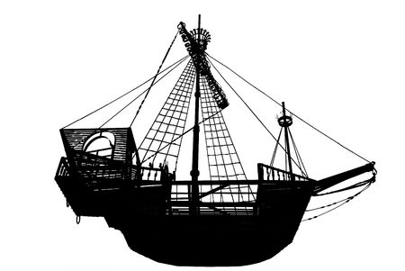 Dark silhouette of the ancient sailing ship on a white background