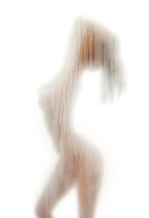 figure of a naked woman behind a transparent curtain