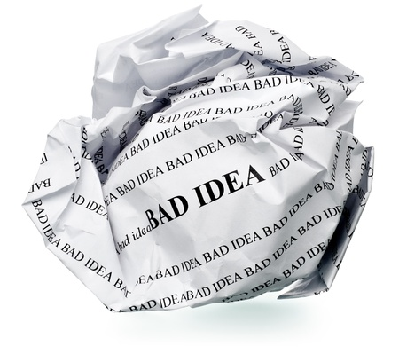 paper ball with text  bad idea  and clipping path on a white background