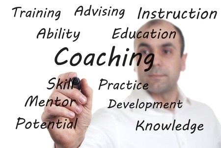 man wrote the words on the screen relating to coaching