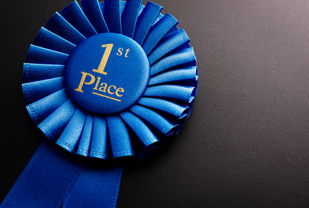 Blue first place winner of the socket with a pleated ribbon on a dark background