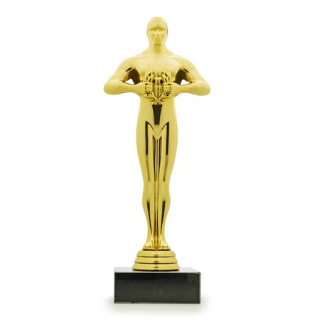 Photo pour Statue Oscar  award made of gold and in form of male on white background - image libre de droit