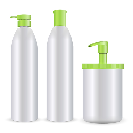Illustration pour Cosmetic bottles mockup vector illustration. Set of shampoo, soap or foam, and gel care products isolated on white background. - image libre de droit