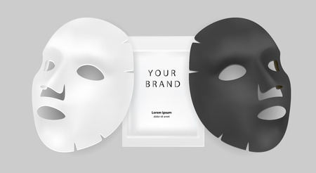 Illustration pour Black and white facial mask cosmetics ads. Realistic vector illustration. Package design for face mask isolated on grey background. - image libre de droit