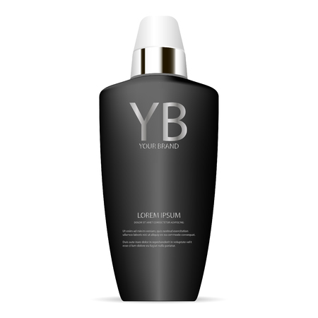 Brand cosmetics collagen lotion bottle in black colour. Vector 3d illustration ads. Ready for your commercial needs.