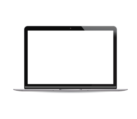 Illustration pour Laptop pc with white lcd screen isolated on background. Portable notebook computer realistic vector illustration. High quality modern design. - image libre de droit