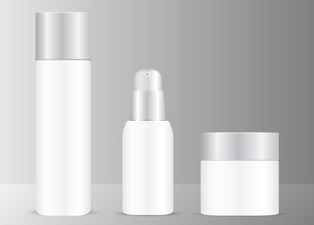 Illustration pour White cosmetics set with silver lids. Bottles for toner, serum and cream jar. Isolated vector illustration. EPS10 format. - image libre de droit