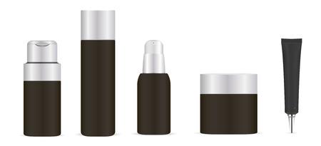Illustration pour Black cosmetic bottles set. Cream jar, shampoo container, foam dispenser, base tube. Vector mock up illustration. EPS10 - image libre de droit