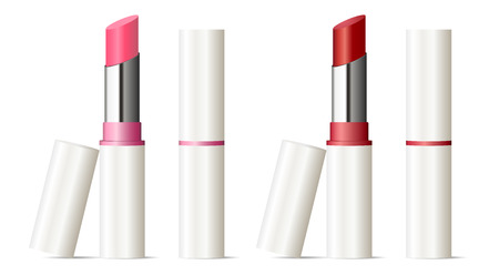 Illustration pour Trendy lipstick mock up set. Vector illustration. Sexy red and pink color. 3d Makeup cosmetic ads. - image libre de droit