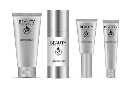 Illustration pour Cosmetic tubes set. Vector illustration of realistic packages of peeling gel, bb cream, ointment, base and other skin kare products. - image libre de droit