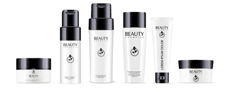 Illustration pour Big cosmetic products set: shampoo and conditioner bottles, cream jar and tube mockup with glossy black lids. Realistic vector illustration. - image libre de droit