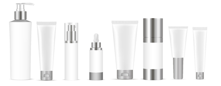 Illustration pour Set of white vector cosmetic bottle blank templates, plastic containers bottles with spray, dispenser and dropper, cream tube. Realistic 3d mock-up of cosmetics package. - image libre de droit