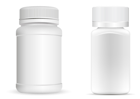 Illustration pour Pills bottles. White round and square medical container for drugs, diet, nutritional supplements. Vector illustration isolated on white background. - image libre de droit