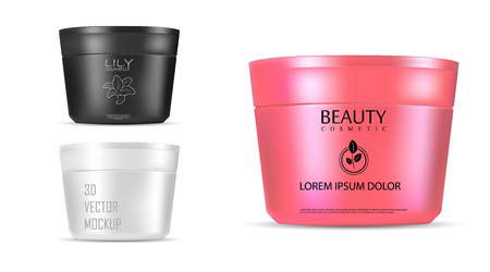 Illustration pour Cosmetic jar 3d vector mockup for cream, ointment, powder and other products. Photo realistic cosmetics packaging template with red lid. Front view. EPS10 illustration. - image libre de droit