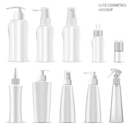 Illustration pour Cosmetic Product Package. White Plastic Bottle. 3d Vector Container Blank of Spray, Cream, Shampoo, Dispenser for Hair, Skin and Beauty Care Product. Liquid Soap Jar and Oil Dropper Mock Up Isolated - image libre de droit