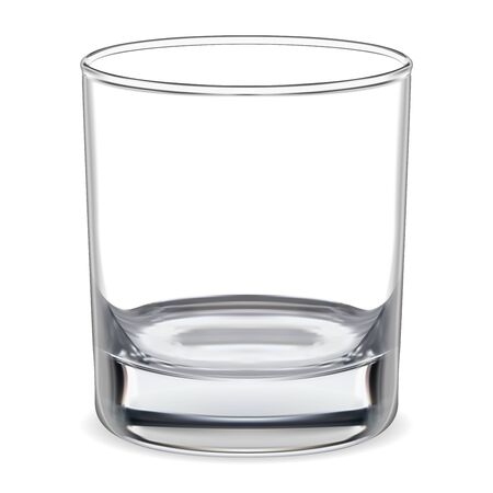 Illustration pour Empty glass. Transparent whiskey glass. Clear glassware for water, brandy, bourbon, rum bar alcohol. Realistic clean and shiny tableware. Crystal bowl illustration for cold mineral aqua - image libre de droit