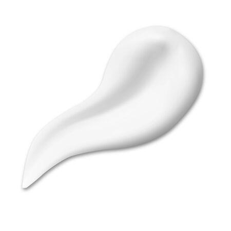 Illustration pour Cosmetic cream texture smear. Creamy drop swatch illustration. Realistic moisturizer gel or sunscreen lotion product swirl. Shave mousse brush stroke. Soft facial milk element splash - image libre de droit