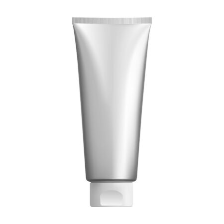 Illustration pour Silver cosmetic tube mockup. Plastic packaging for cosmetology cream product. 3d pack design for ointment or gel. Realistic mock up illustration for tooth paste or foam - image libre de droit