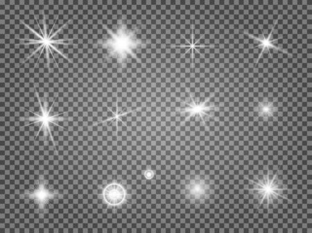 Illustration pour Star flare set. Lens light effect isolated. Special starlight ray collection. Abstract camera flashlight sparkle. Magic solar radiance - image libre de droit