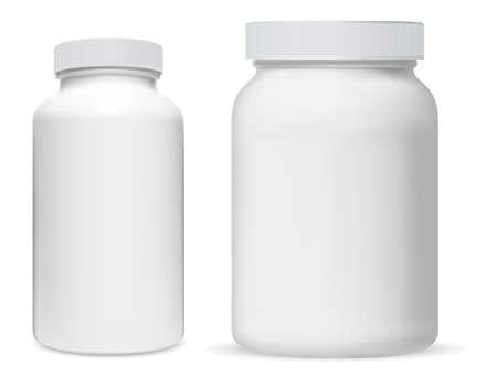 Illustration pour Pill bottle. White plastic supplement jar. Protein bottle mock up, vitamin capsule packaging, large powder jar blank. medical remedy cylinder jar, aspirin medication tablets, pharmaceutical drug can - image libre de droit
