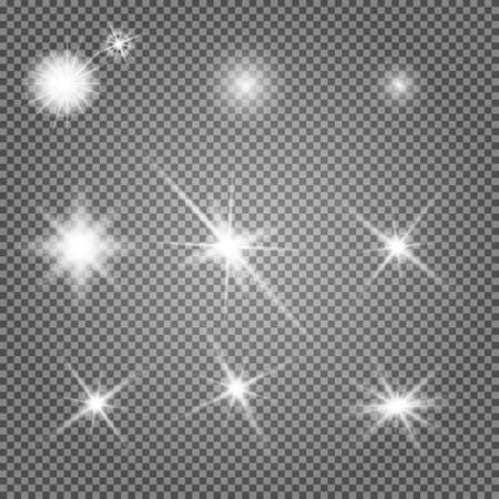 Illustration for Star light. Starburst glow effect, vector sparkle. Flash shine, glowing bright on transparent background. Abstract glitter decoration, shiny sunlight ray, magic disco element. Special spark - Royalty Free Image