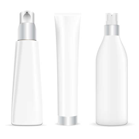 Illustration pour Pump tube, cosmetic cream dispenser, cream tube beauty package mockup. Serum essence container, vector jar blank for body gel, face skin foundation. Cleansing moisturizer spray bottle - image libre de droit