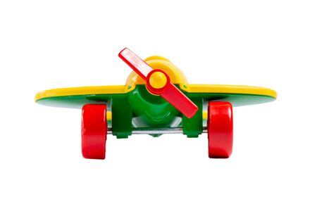 Photo pour yellow toy airplane with propeller and landing gear isolate on a white background without shadow. concept of travel and flight. - image libre de droit