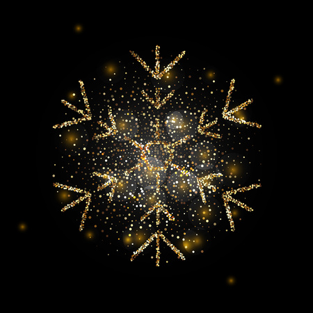 Sparkling golden snowflake with glitter texture for Christmas, New Year greeting card. Vector black background with isolated winter snowflake