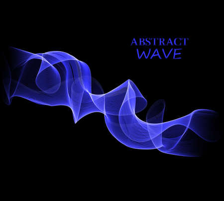 Illustration for Vector Abstract shiny color blue wave design element on dark background. - Royalty Free Image