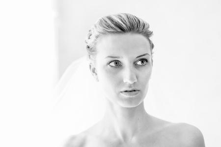 Black-and-white portrait of the bride