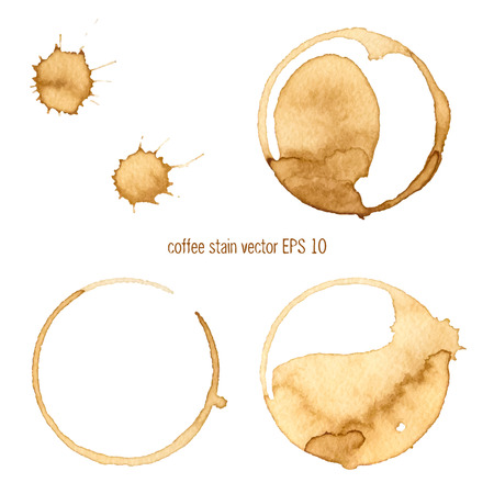 Illustration for Coffee Stain, Isolated On White Background.  Collection of circle various  coffee stains isolated on white background - Royalty Free Image