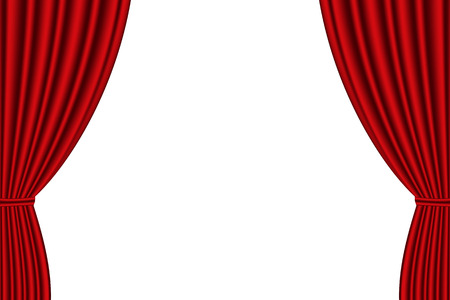 Illustration for Red curtain opened on  white background. Vector illustration - Royalty Free Image