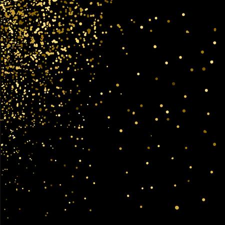 Illustration pour Gold glitter texture on  black background. Golden explosion of confetti. Golden grainy abstract  texture on  black  background. Holiday background. Design element. Vector illustration,eps 10. - image libre de droit