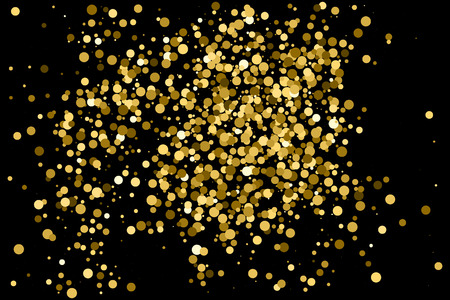 Gold glitter texture isolated on black. Amber particles color. Celebratory background. Golden explosion of confetti.