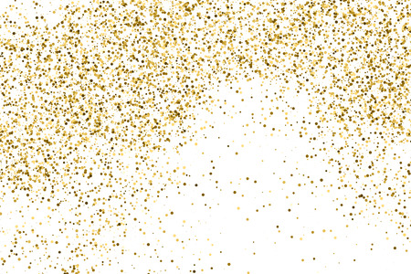 Gold glitter texture isolated on white. Amber color background. Golden explosion of confetti.